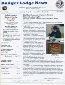 1st Place: Badger Lodge News